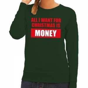 Foute kersttrui christmas money groen voor dames