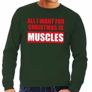 Foute kersttrui christmas muscles groen voor heren