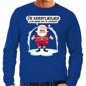 Foute kersttrui de kerstliedjes zijn om te janken blauw heren