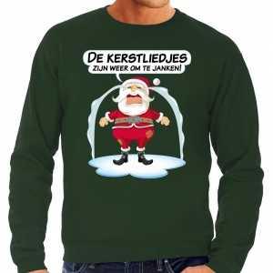 Foute kersttrui de kerstliedjes zijn om te janken groen heren