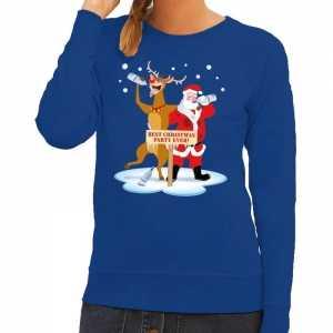 Foute kersttrui dronken kerstman en rendier rudolf blauw dames