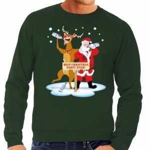 Foute kersttrui dronken kerstman en rendier rudolf groen heren
