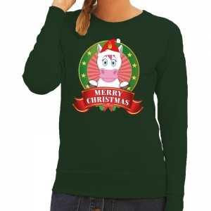 Foute kersttrui eenhoorn groen merry christmas voor dames