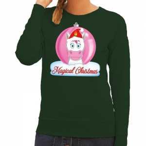 Foute kersttrui eenhoorn magical christmas groene dames sweater