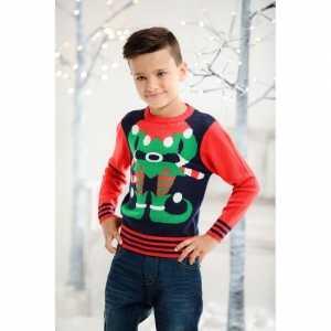 Foute kersttrui elf rood/blauw voor kinderen