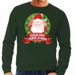 Foute kersttrui groen fuck off i hate x-mas voor heren