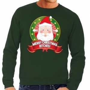 Foute kersttrui groen merry christmas bitches voor heren