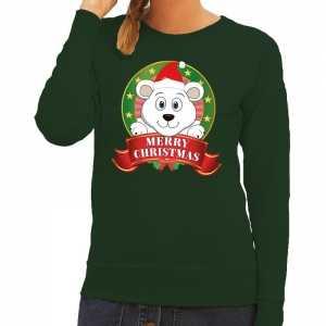 Foute kersttrui groen merry christmas ijsbeer voor dames