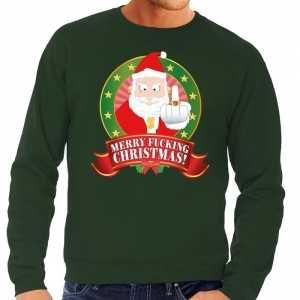 Foute kersttrui groen merry fucking christmas voor heren