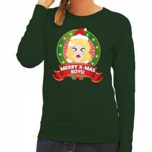 Foute kersttrui groen merry x-mas boys voor dames