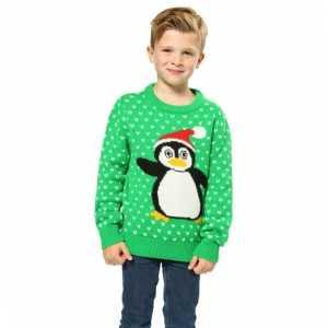 Foute Kersttrui Pinguin.Foute Kersttrui Groen Met Pinguin Voor Kinderen Foute Eu