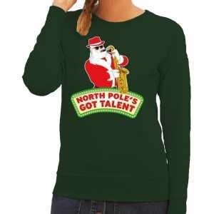 Foute kersttrui groen north poles got talent voor dames