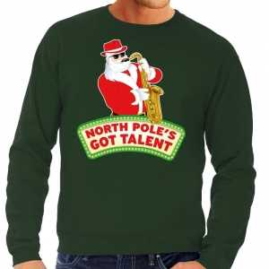 Foute kersttrui groen north poles got talent voor heren