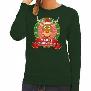 Foute kersttrui groen rudolph merry christmas voor dames