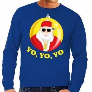 Foute kersttrui hip hop / rapper kerstman blauw voor heren