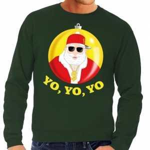 Foute kersttrui hip hop / rapper santa groen voor heren