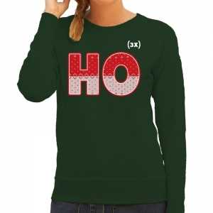 Foute kersttrui ho ho ho groen voor dames