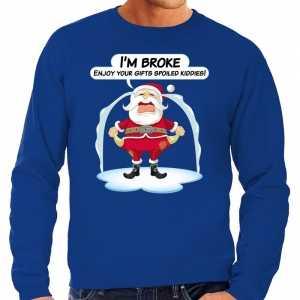 Foute kersttrui im broke enjoy your gifts blauw voor heren