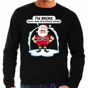 Foute kersttrui im broke enjoy your gifts zwart voor heren
