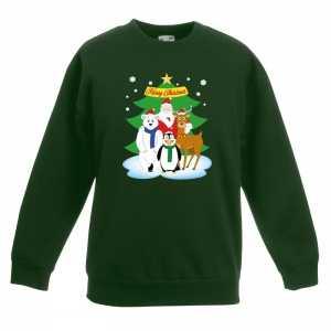 Foute kersttrui kerst vriendjes groen kinderen