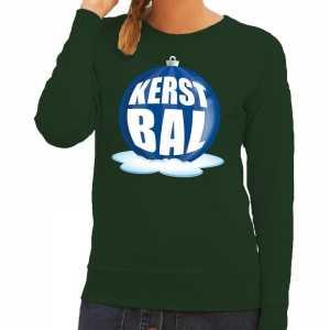 Foute kersttrui kerstbal blauw op groene sweater voor dames