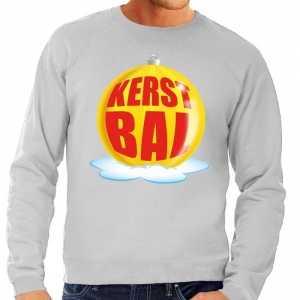 Foute kersttrui kerstbal geel op grijze sweater voor heren