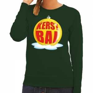 Foute kersttrui kerstbal geel op groene sweater voor dames