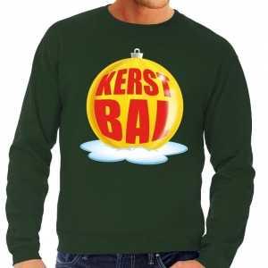 Foute kersttrui kerstbal geel op groene sweater voor heren