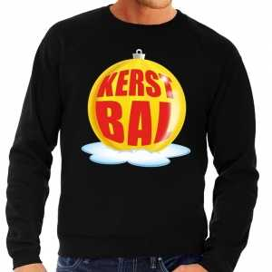Foute kersttrui kerstbal geel op zwarte sweater voor heren