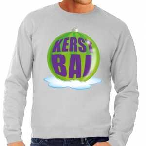 Foute kersttrui kerstbal groen op grijze sweater voor heren