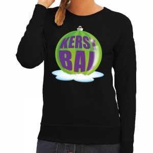 Foute kersttrui kerstbal groen op zwarte sweater voor dames