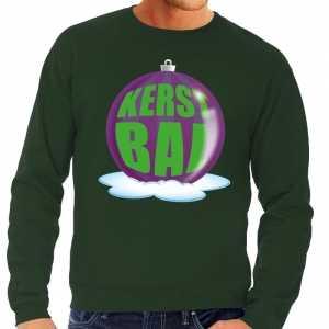 Foute kersttrui kerstbal paars op groene sweater voor heren