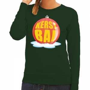 Kersttrui Dames Rood.Foute Kersttrui Kerstbal Rood Op Groene Sweater Voor Dames Foute Eu