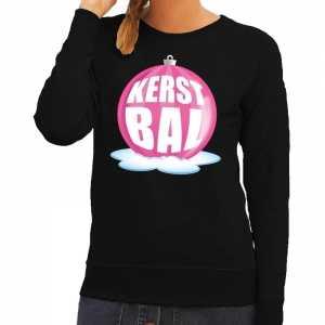 Foute kersttrui kerstbal roze op zwarte sweater voor dames