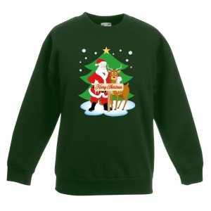Foute kersttrui kerstman en rendier groen kinderen
