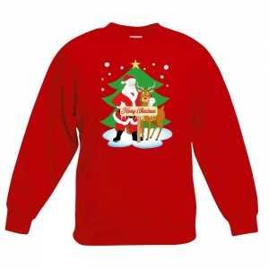 Foute kersttrui kerstman en rendier rood kinderen