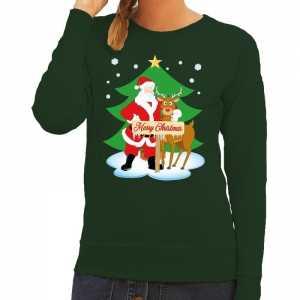 Foute kersttrui kerstman en rendier rudolf groen dames