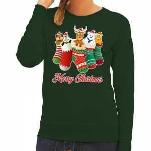 Foute kersttrui kerstsokken merry christmas groen voor dames