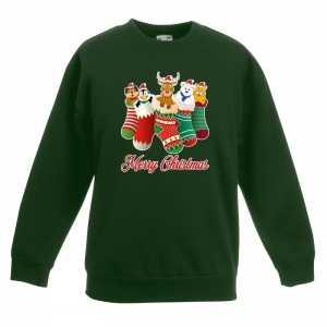 Foute kersttrui kerstsokken merry christmas groen voor kinderen