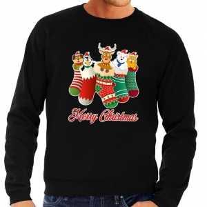Foute kersttrui kerstsokken merry christmas zwart voor heren
