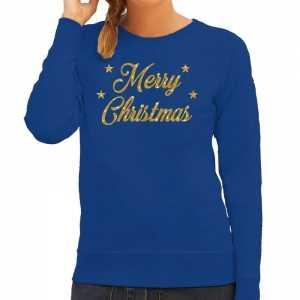 Foute kersttrui merry christmas gouden glitter letters blauw dames