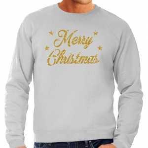Foute kersttrui merry christmas gouden glitter letters grijs heren