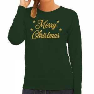 Foute kersttrui merry christmas gouden glitter letters groen dames