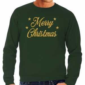 Foute kersttrui merry christmas gouden glitter letters groen heren