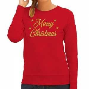 Foute kersttrui merry christmas gouden glitter letters rood dames