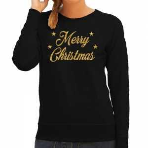 Foute kersttrui merry christmas gouden glitter letters zwart dames