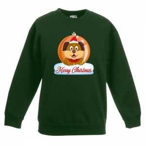 Foute kersttrui merry christmas hond kerstbal groen kinderen