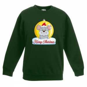 Foute kersttrui merry christmas muis kerstbal groen kinderen