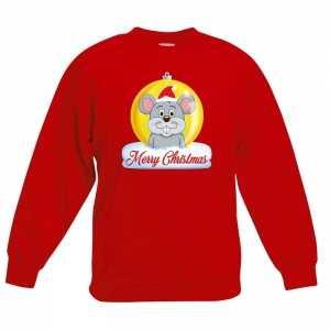 Foute kersttrui merry christmas muis kerstbal rood kinderen
