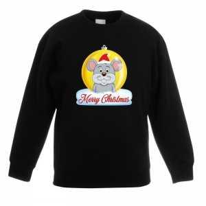 Foute kersttrui merry christmas muis kerstbal zwart kinderen